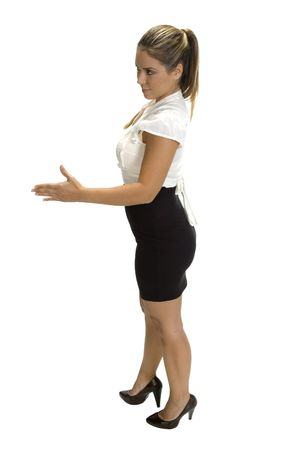 businesswoman ready to hand shake, side view photo