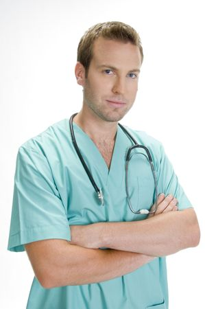 doctor posing with crossed arms and stethoscope