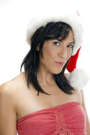 gorgeous woman with santa cap photo