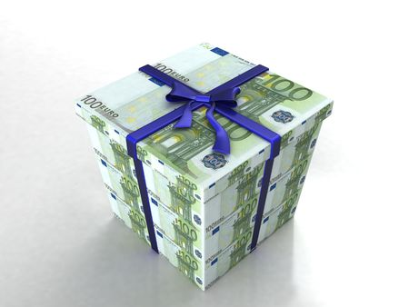 three dimensional gift wrapped in euro bills on an isolated white background photo