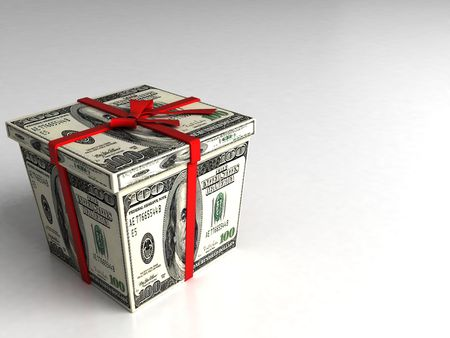 three dimensional gift box wrapped with 100 dollar bills on an isolated white background Standard-Bild