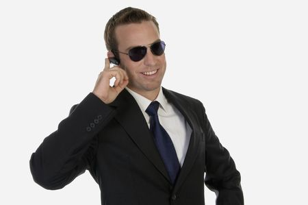 businessman operating bluetooth with white background photo