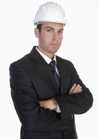 smart architect with white helmet on an isolated background photo