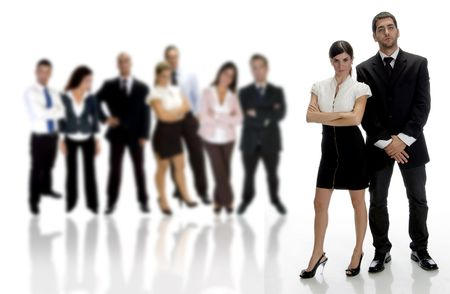 posing  agree: business partnerswith with group of people Stock Photo