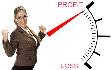 profit and loss: beautiful woman posing near profit loss meter Stock Photo