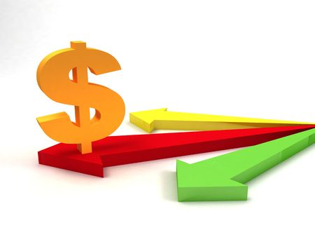 cash flows: three dimensional dollar sign on arrows