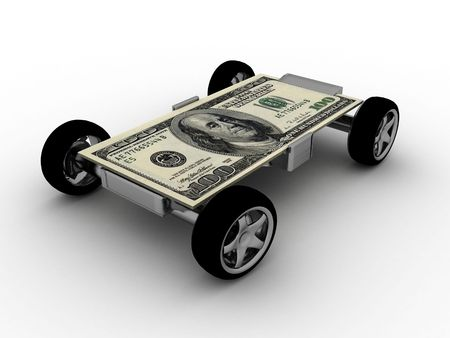 computergraphics: three dimensional one hundred dollar bill on wheels       Stock Photo