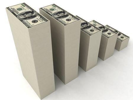 three dimensional stacks of dollars