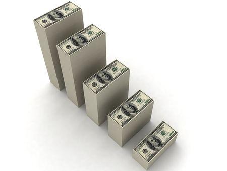 three dimensional bars of currency Standard-Bild