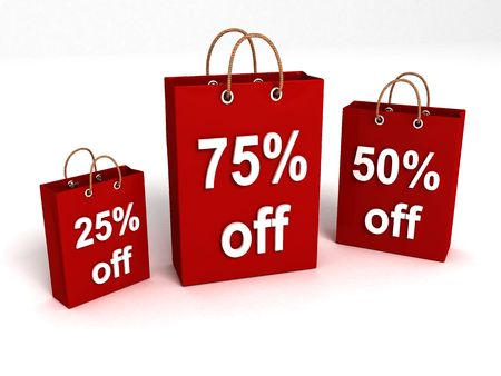 rebate: three dimensional shopping bags with rebate offers