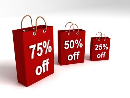 three dimensional shopping bags showing off percentages Stock Photo - 3688880