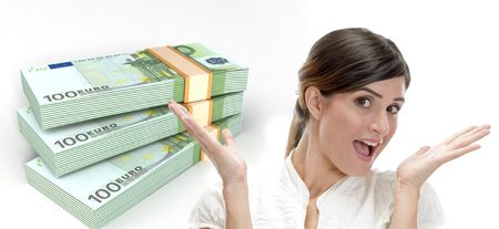 surprised business woman and three dimensional bundles of europian currency on an isolated white background Standard-Bild