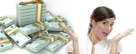 europian: surprised business woman and  three dimensional stacked  bundles of europian currency on an isolated white background