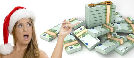 europian: three dimensional  key and bundles of euro money and a sexy lady with santa hat on an isolated white background Stock Photo
