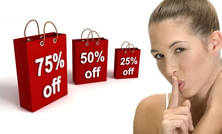 three dimensional shopping bags and woman gesturing quite on an isolated white background