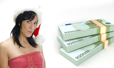three dimensional currency bundles stack and woman with santa hat on an isolated white background photo