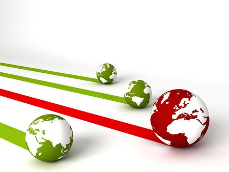 computergraphics: three dimensional display of profit and loss globes Stock Photo