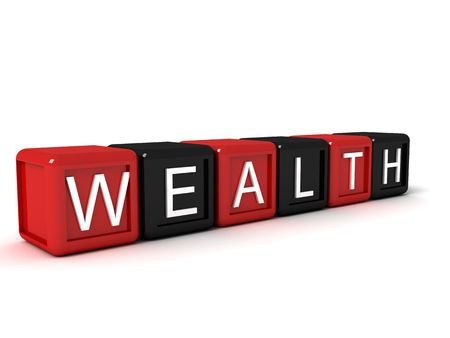 word the wealth from colorful blocks, 3d concept illustration Stock Illustration - 3705041