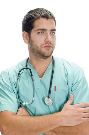 portrait of handsome doctor against white background Stock Photo - 3708650