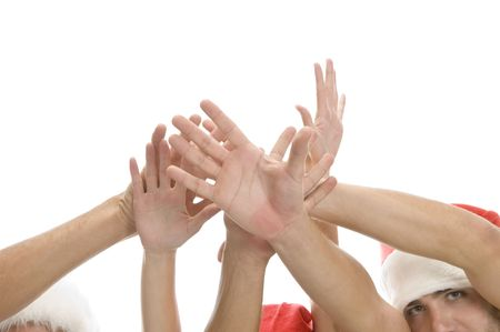 raised hands of people on an isolated background Stock Photo - 3708624