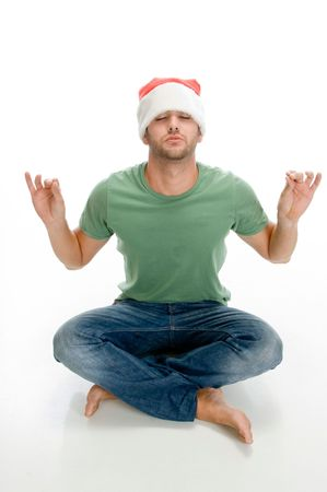 man doing meditation on an isolated background Stock Photo - 3708631