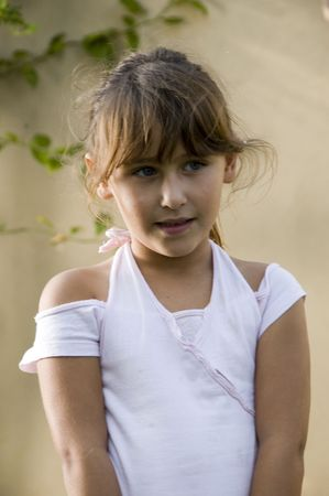 8 year old: girl posing in style on natural background