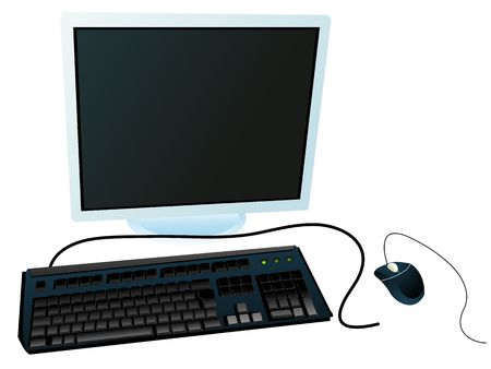 computer system on white background photo