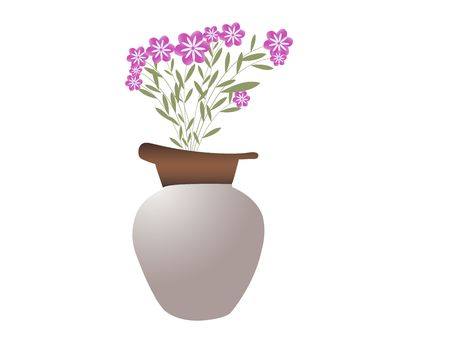 sculpted: pot with beautiful  flowers on white background  Stock Photo