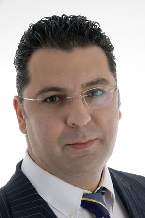 portrait of caucasian businessman with eyewear on  an isolated white background  photo