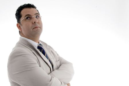 portrait of businessman looking upwardon  an isolated white background  photo