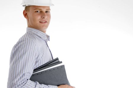 side view of architect with documents on an isolated background photo