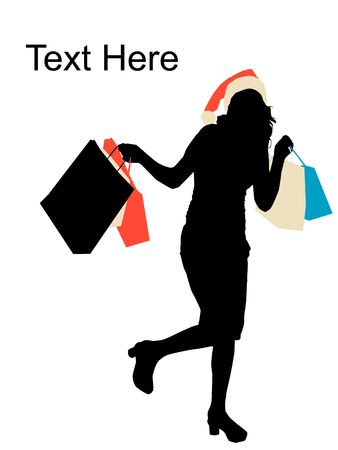 model holding shopping bags and christmas hat Stock Photo - 3781677