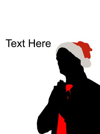 portrait of praying man with christmas hat photo
