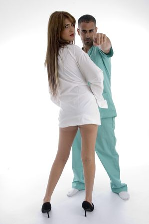 doctor and patient against white background photo