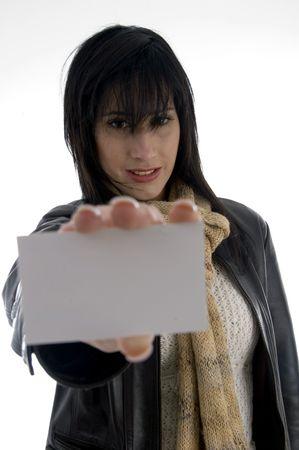 carta identit�: donna azienda carta d'identit� con sfondo bianco