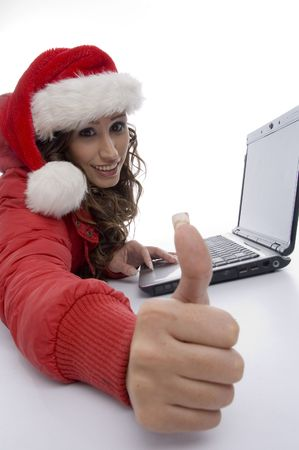 high angle view of woman with laptop with white background photo