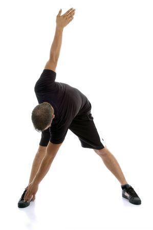 26: man doing exercise on an isolated white background