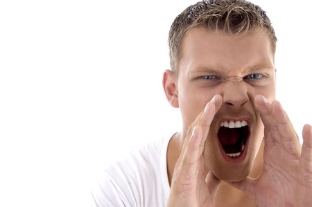 young fellow: young fellow shouting loudly on an isolated white background