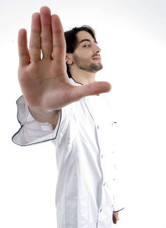 chef with stopping palm with white background
