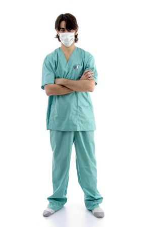 facemask: doctor in scrubs and facemask isolated on white background