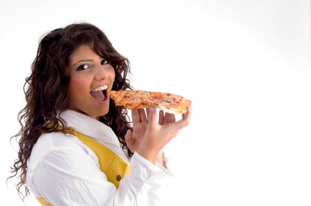 woman going to eat pizza on an isolated background