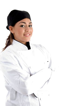 posing smiling chef with white background photo
