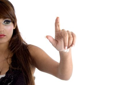 half  length: half length of pointing woman against white background