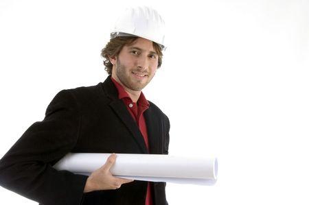architect holding blueprint with white background photo