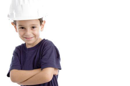 little architect wearing hardhat isolated on white background Standard-Bild