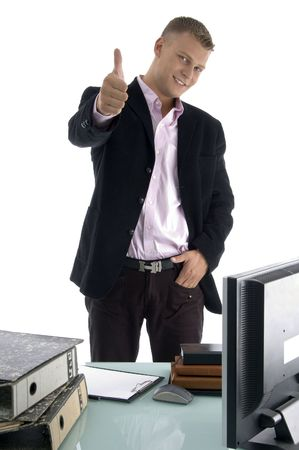 goodluck: blonde businessman wishing goodluck  on an isolated white background