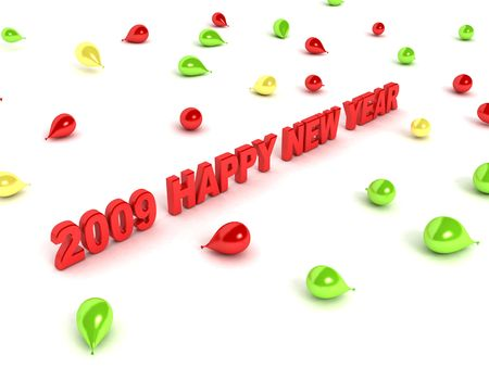 welcoming: three dimensional happy new year text Stock Photo