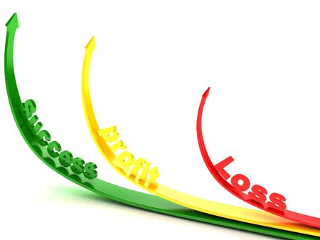 profit loss: three dimensional curved arrows showing profit loss and success Stock Photo