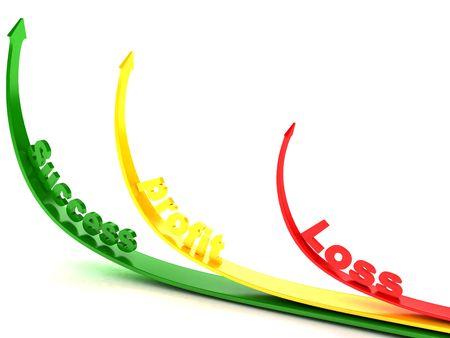 flechas curvas: tres dimensiones flechas curvas que muestran la p�rdida de beneficios y el �xito Foto de archivo