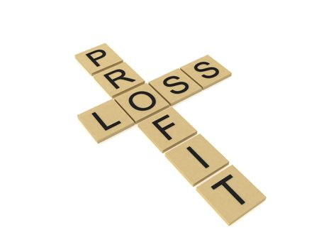 profit loss: three dimensional cross words showing profit and loss Stock Photo